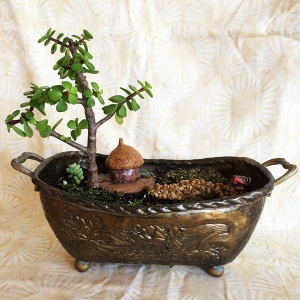 Fairy garden in antique dish