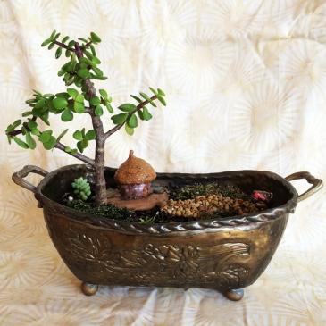 Fairy garden in antique dish